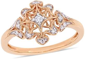 Everly 10K Rose Gold 0.1 CT. T.W. Diamond Filigree Ring
