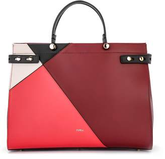 Furla Lady M Shopping Bag In Multicolor Red Colorblock Leather