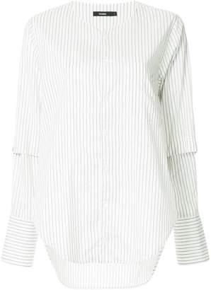 Bassike striped collarless shirt