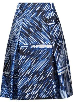 Milly Pleated Printed Satin-Twill Skirt