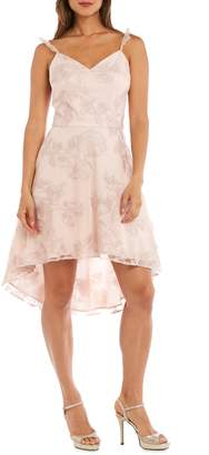 Morgan & Co. Ruffle Strap Embroidered Fit & Flare Dress