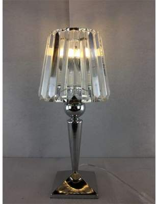 Kliving chalice chrome clear glass table lamp