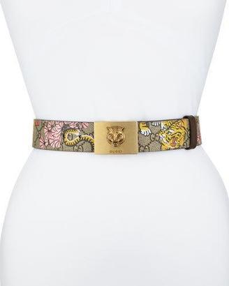 Gucci GG Supreme Blooms Belt w/ Tiger Buckle, Pink/Beige $480 thestylecure.com