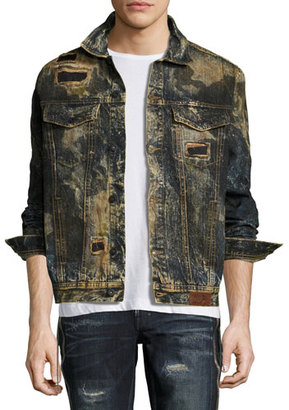 PRPS Compaction Dirty Denim Jacket with Patches, Indigo $328 thestylecure.com