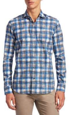 Saks Fifth Avenue COLLECTION Watercolor Plaid Cotton Button-Down Shirt