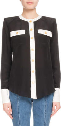 Balmain Button-Front Long-Sleeve 2-Pocket Silk Blouse