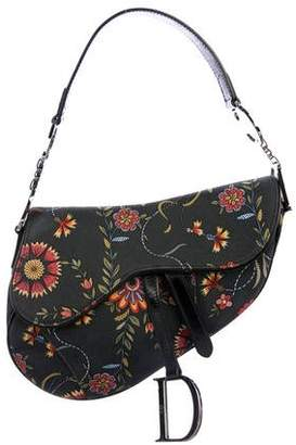 Christian Dior Floral Canvas Saddle Bag