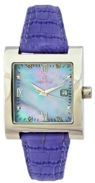 Mother of Pearl Oskar Emil Ladies St Petersburg Lilac Quartz Watch with Diamonds and Dial Analogue Display and Purple Leather Strap St Petersburg Lilac