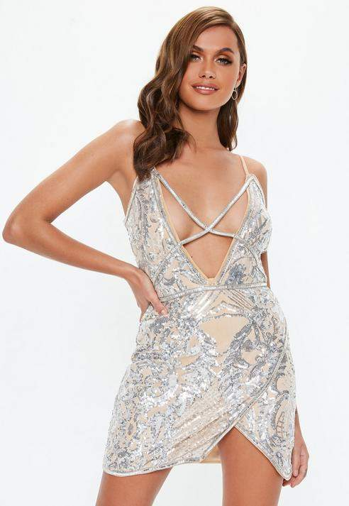 Nude Sequin Cross Front Strappy Mini Dress, Nude