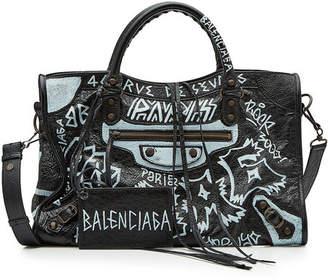 Balenciaga City Graffiti Leather Tote