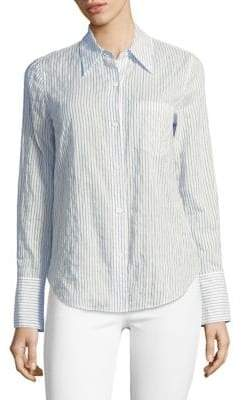 Theory Long-Sleeve Striped Button-Down Shirt