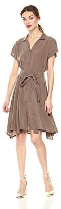 Daisy Drive Women's Cupro Short Sleeve Dress with Open V Neckline