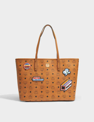 MCM Shopper Bag with Patches in Cognac Visetos