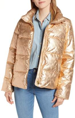 J.Crew Metallic Puffer Jacket with PrimaLoft(R)