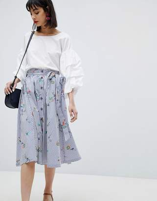 Esprit Floral And Stripe Midi Skirt