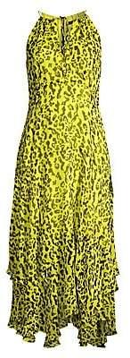 Nanette Lepore Women's Leopard Print Chiffon Handkerchief Midi Dress