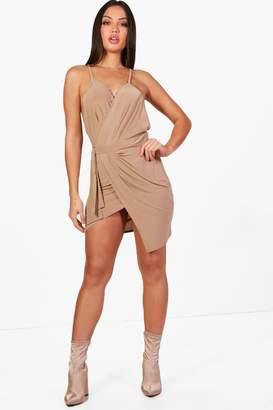boohoo Asia Slinky Wrap Tie Detail Bodycon Dress
