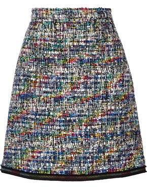 Moschino Grosgrain-Trimmed Bouclé-Tweed Mini Skirt