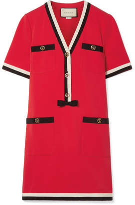 Gucci Grosgrain-trimmed Stretch-ponte Mini Dress - Red