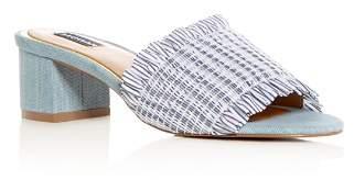 Jaggar Women's Smocked Stripe & Denim Block Heel Slide Sandals
