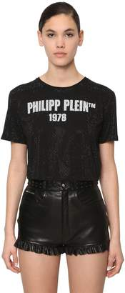Philipp Plein 23 CRYSTAL CROPPED COTTON JERSEY T-SHIRT