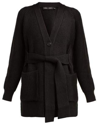 Proenza Schouler Tie Front Cotton Blend Cardigan - Womens - Black