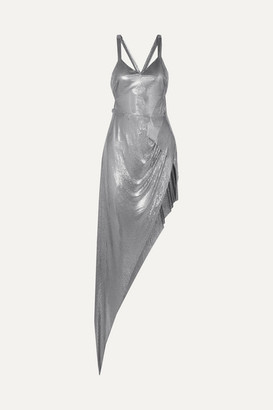 Fannie Schiavoni Izabel Asymmetric Chainmail Gown - Silver