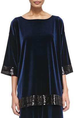 Joan Vass Velour Sequin-Trimmed Tunic, Navy, Petite