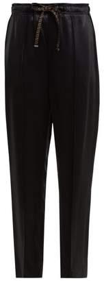 Fendi - Logo Drawstring Satin Trousers - Womens - Navy