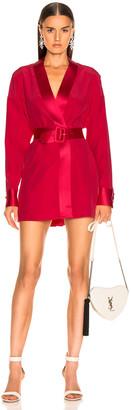 Fleur Du Mal Cufflink Mini Wrap Dress in Red Poppy   FWRD