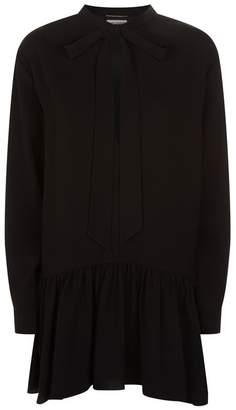 Saint Laurent Lavallière-Neck Crepe Mini Dress