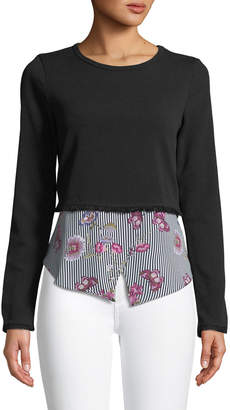 Couture Casual Floral-Hem Twofer Sweater, Black