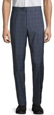 Santorelli Windowpane Check Wool Trousers