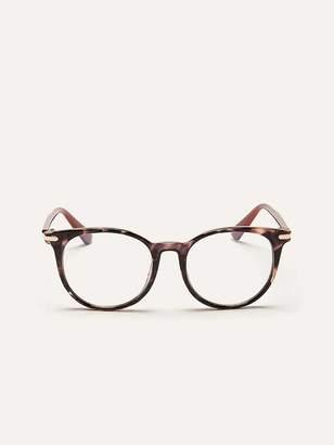 Blue Lens Glasses with Tortoise Frame