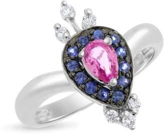 14k White Gold 1.01tcw Stunning Diamond Peacock Pink & Blue Sapphire Ring Size 7
