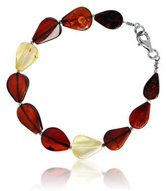 Goldmajor Women 925 Sterling Silver Multicolour Amber Strand Bracelet of Length 19cm BA861