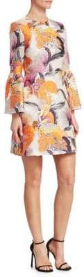 Mary Katrantzou Ligretto Floral Bell-Sleeve Dress