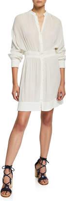 Rag & Bone Elish Long-Sleeve Crinkle Dress with Mandarin Collar