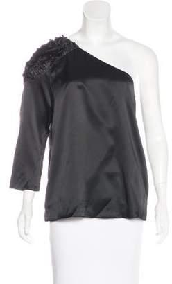 Tibi One-Shoulder Silk Top