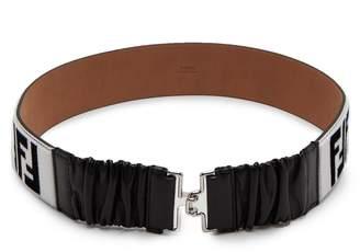 Fendi Logo shearling and leather belt