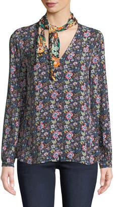 Frame Open Scarf V-Neck Long-Sleeve Floral-Print Blouse
