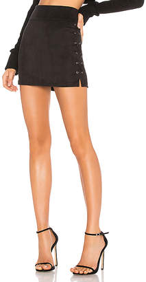David Lerner Wax Cord Suede Lace Up Skirt