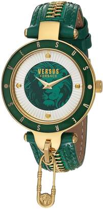 Versus By Versace Women's 'KEY BISCAYNE II' Quartz Stainless Steel and Leather Casual Watch, Color: (Model: SCK100016)