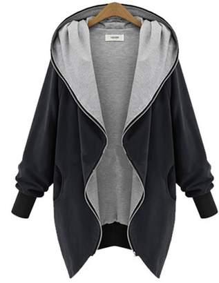 EkarLam® Women's Plus Size Jacket Overcoat Outerwear Coat Hooded Windbreaker
