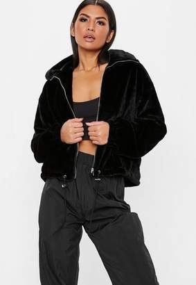 Missguided Black Faux Fur Bomber Jacket