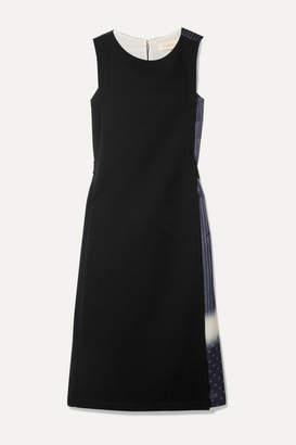 Tory Burch Paneled Crepe And Printed Silk-satin Midi Dress - Black