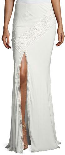 Haute HippieHaute Hippie Lux Crocheted Front-Slit Maxi Skirt, White