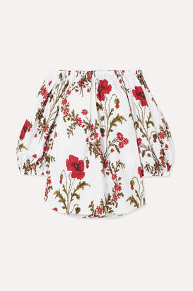 Alexander McQueen Off-the-shoulder Floral-print Cotton-poplin Top - Ivory