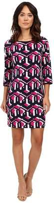 Laundry by Shelli Segal Lock Eyes 3/4 Sleeve Printed Matte Jersey Dress Women's Dress