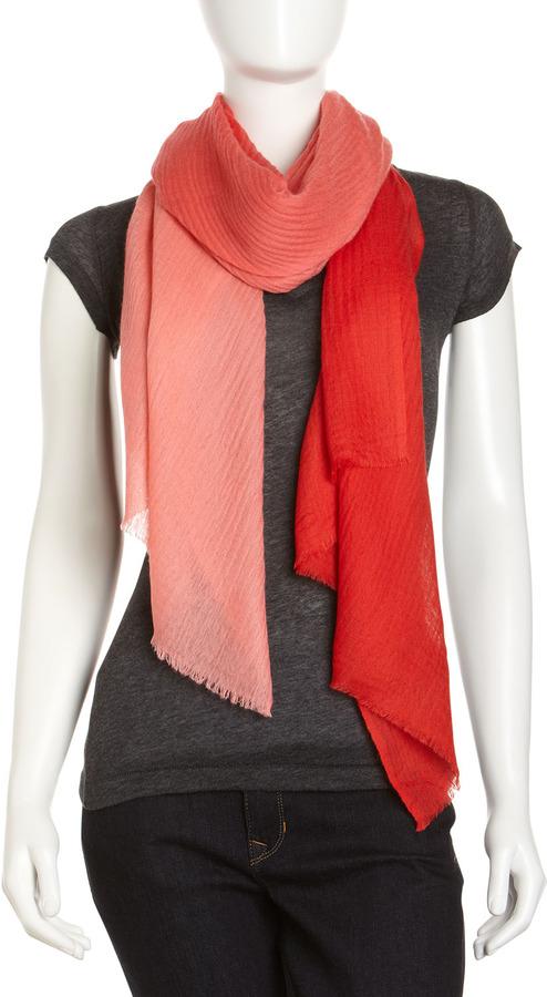 Rachel Roy Dip-Dye Cashmere Wrap, Coral